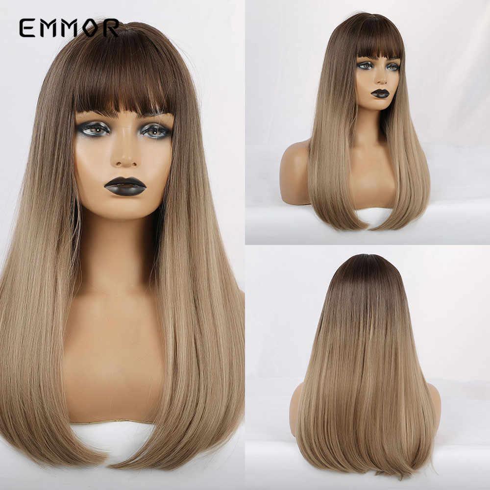 """EMMOR 16 """"długie proste syntetyczne włókna włosów peruka z grzywką brązowy do czerwonego Cospaly codziennego użytku Ombre peruki dla czarnych białych kobiet"""
