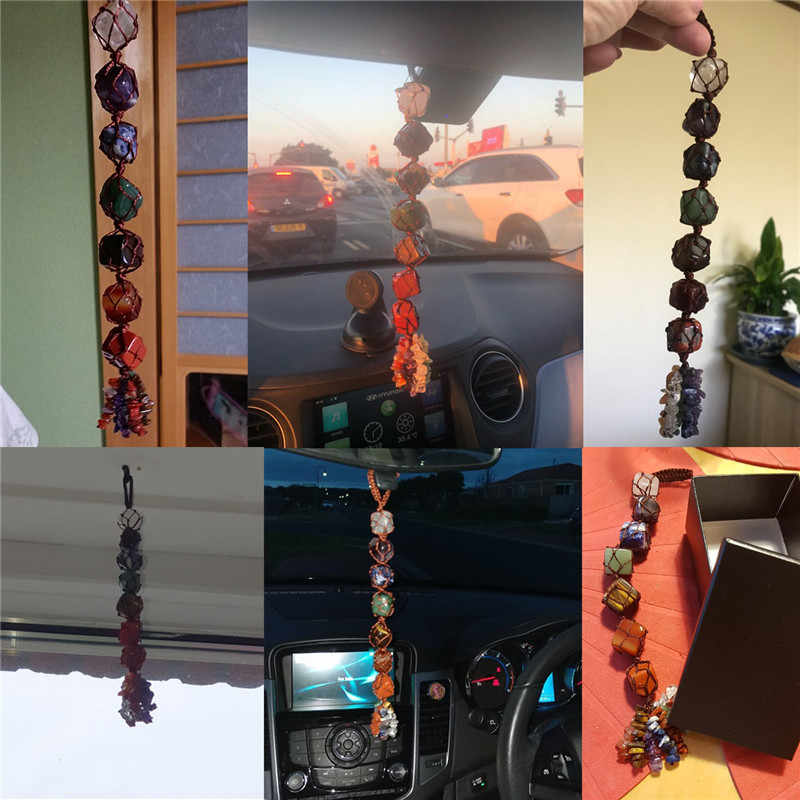 Sunligoo 7 צ 'אקרה מכובס חן ציצית רוחני מדיטציה תלייה/חלון/פנג שואי קישוט רייקי אבנים רכב/בית דקור