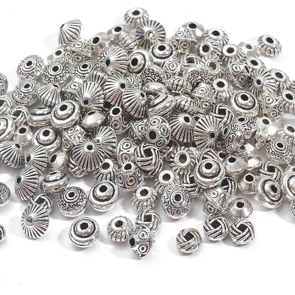 30 Square Metal Silver Tibetan Zinc Alloy Connector Beads Jewelry Craft Spacer