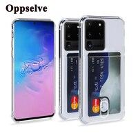 Custodia per telefono antiurto con supporto per slot per schede per S20 Plus Ultra S10 S9 S8 Note 10 Pro 9 A91 A51 Cover posteriore trasparente in Silicone morbido