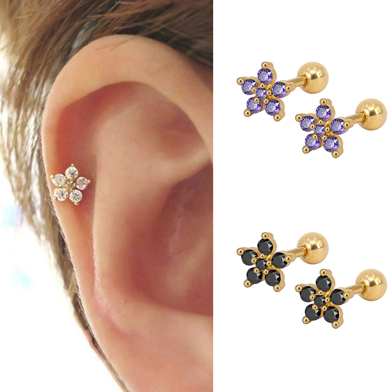 Women's Fashion Stainless Steel Minimal Stud Earrings Round Zircon Stone Stud Small Cartilage Ear Piercing Jewelry
