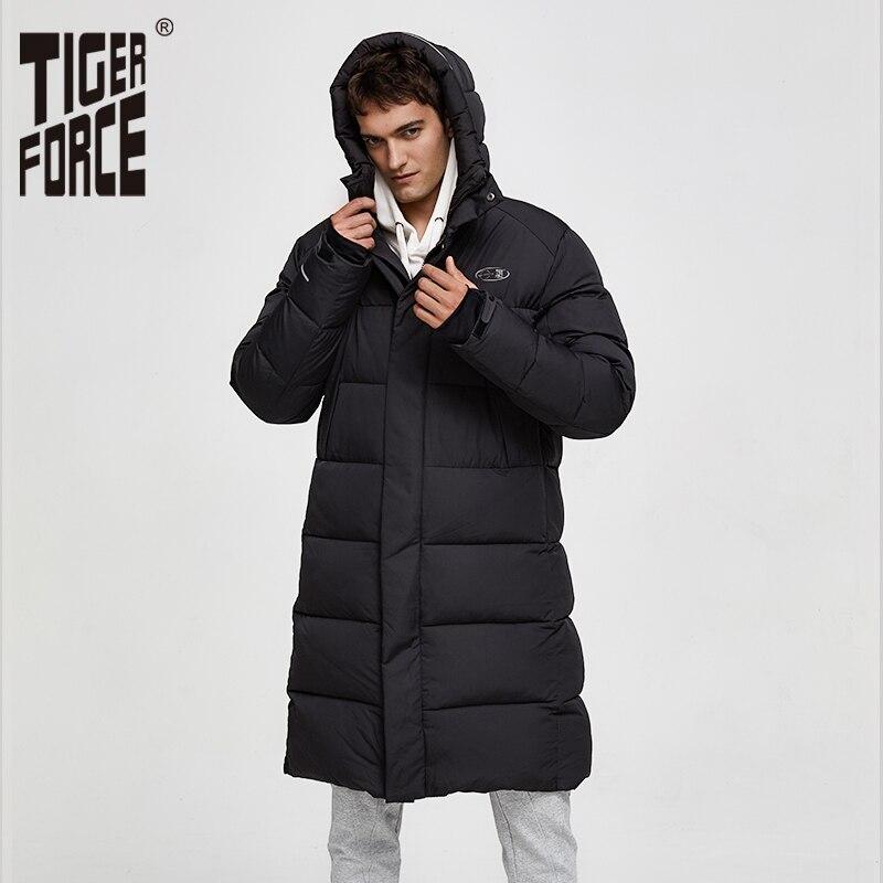Tiger Force 2019 Winter Jacket For Men Long Mens Hooded Jackets Coat Warm Parka Overcoat Black Puffer Big Pockets Outwear