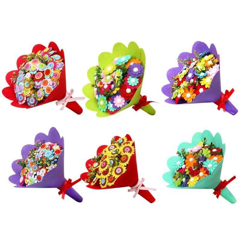 Craft Button Bouquet Enhance Baby Sense Touch Cute Shape Non-woven Cloth DIY Handmade Holding Flower Children Toys