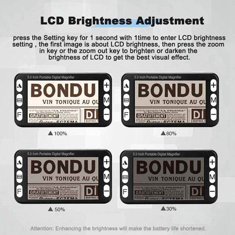 Zoom portátil de digitas 4x 32x do lcd da lupa do vídeo da parte superior 5 Polegada, ajuda eletrônica handheld da leitura para a baixa visão prejudicada, 19 m da cor - 3