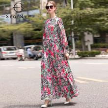 SEQINYY Elegant Long Dress 2020 Spring Autumn New Fashion Design Sleeve Elastic Waist Rose Flowers Printed Leopard