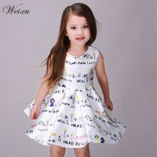 High Quality Summer White Dress For Baby Girl Letter Print Costume Princess Dress Infant Kids Clothing For Teenage Girls 8 Years стоимость
