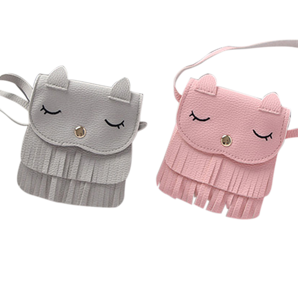 Cute Cat Children Girls Tassel Small Shoulder Messenger Bag Mini Coin Purses PU Leather Handbags Wallet New Design