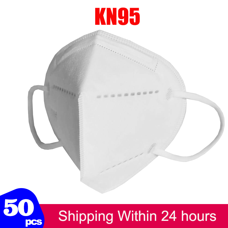 50Pcs Face Protective Mask KN95 N95 5-Ply Non-Woven Mouth Safe Dust Mask Anti-COVID-19 Influenza Antivirus Profession Mouth Mask
