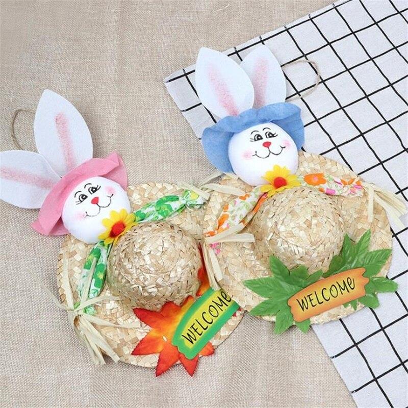 Easter Rabbit Straw Hat Kindergarten Handcraft Creative Cute Bunny Home Decoration Educational Kids Toys Christmas Birthday Gift