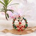 Красивый Рождественский венок олень брошь с лосем Стразы с мощеным шармом отворот булавки ювелирные изделия подарки для друзей