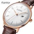 Fantor 新ブランドビジネスメンズ腕時計高級ファッションドレスクォーツ腕時計メンズレザーストラップ防水レロジオ Masculino
