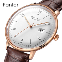 Fantor nova marca de negócios relógio masculino moda luxo vestido quartzo relógio pulso pulseira couro dos homens à prova dwaterproof água relogio masculino