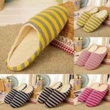 Winter Women Flip Flop Striped Printed Home Slippers Men Soft Indoor Shoes Home Warming Soft Slippers Autumn Bedroom(China)