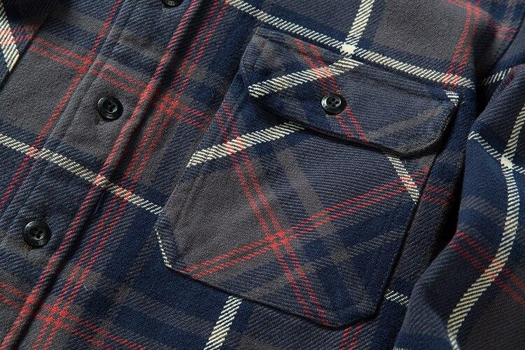 H7bc556e6b48a473cad2c5aca7c94590dM 100% cotton heavy weight retro vintage classic red black spring autumn winter long sleeve plaid shirt for men women