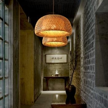 Nordic Pendant Lamp  Wooden Pendant Weaving Bamboo Hanging Lamp Retro Garden Restaurant Study Bedroom Living Room Lamp lightIing 6
