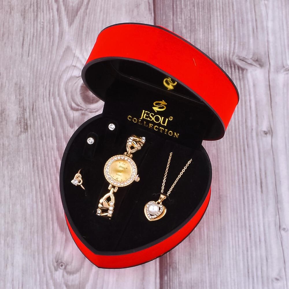 Women Bracelet Watch Set Gold Crystal Design Necklace Earrings ring Female Jewelry Set Quartz Watch Women's Gifts For Valentine
