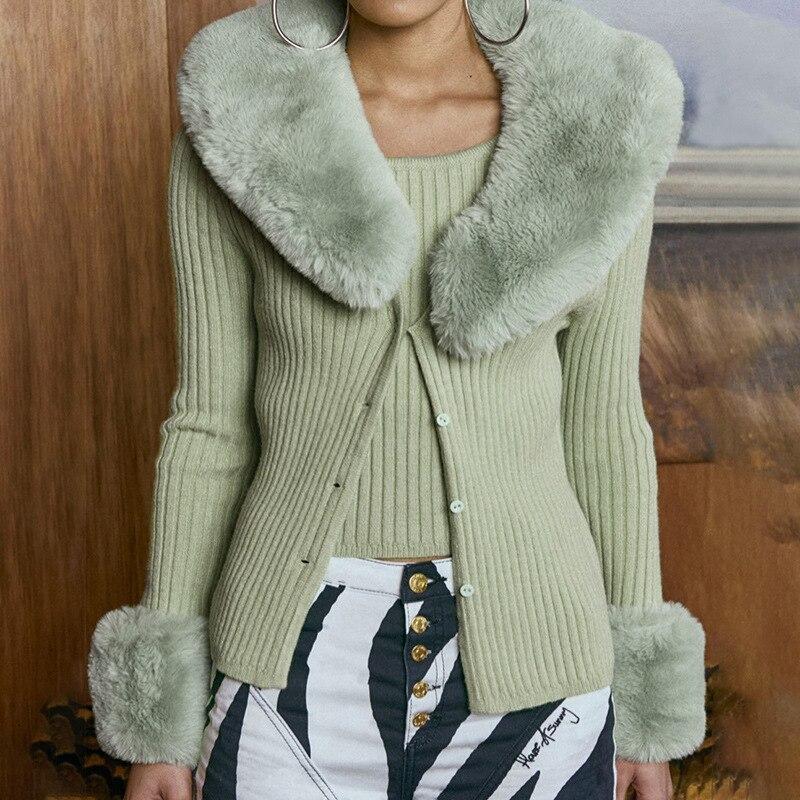 Осенне зимние ребристые вязаные женские кардиганы свитера с