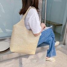 Bolso de hombro tejido de paja para mujer, bolsa de mano Vintage de gran capacidad para playa y vacaciones de verano