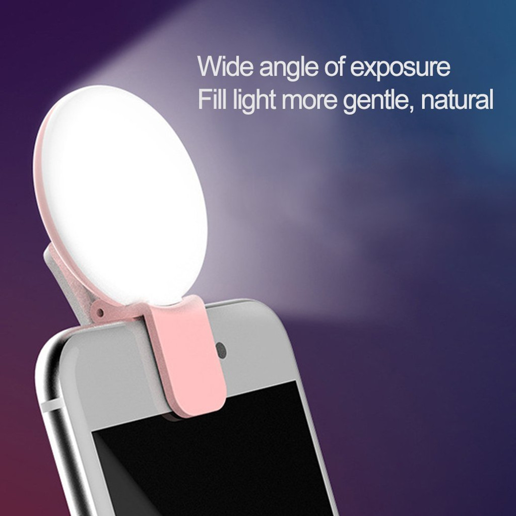 Mobile Phone Selfie Lamp LED Ring Light Portable Flash Clip-on phone ring light Live video Night Enhancing