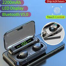 2200mAh 블루투스 무선 이어폰 헤드폰 이어폰 LED 디스플레이 터치 컨트롤 스포츠 방수 헤드셋 소음 취소 이어 버드