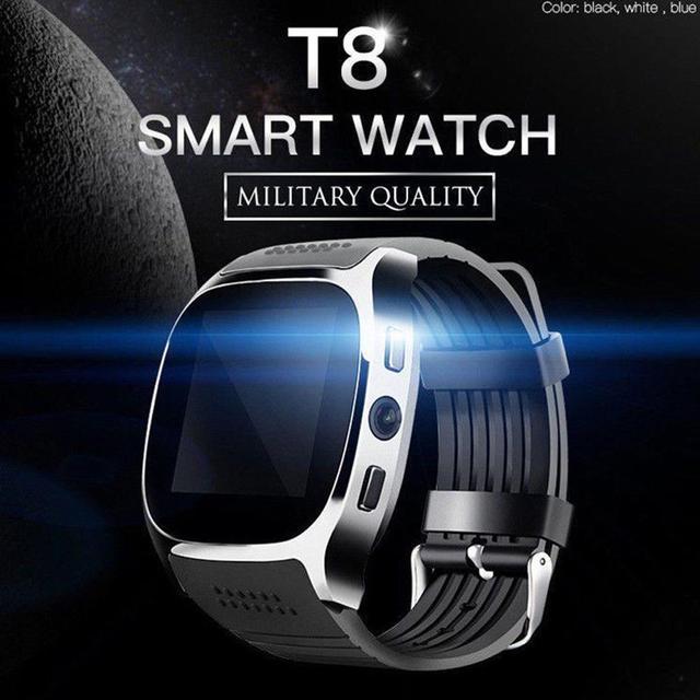 T8 kamera ile Bluetooth akıllı izle Facebook Whatsapp destek SIM TF kart çağrı spor Smartwatch Android telefon için IOS Samsung