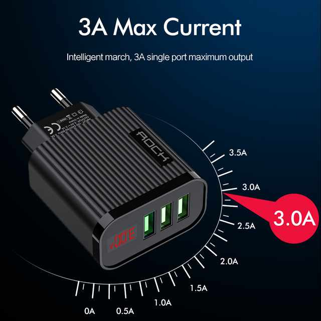 ROCK Digital Display Phone Charger 3 Port USB 3A Max Smart Fast Charger Travel Wall Charger Adapter For iPhone Samsung Xiaomi 3