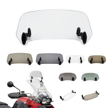 Uniwersalny motocykl przedłużenie przedniej szyby regulowany Spoiler zacisk na przedniej szybie deflektor dla BMW KAWASAKI YAMAHA HONDA SUZUKI tanie i dobre opinie amotime CN (pochodzenie) Przednie szyby deflektory dachowe Transparent Brown Smoked Dark Green For BMW 800GS For Honda frica Twin CB500X