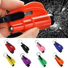 Portable Car Safety Hammer Spring Type Escape Hammer Window Breaker Punch Seat Belt Cutter Hammer Key Chain