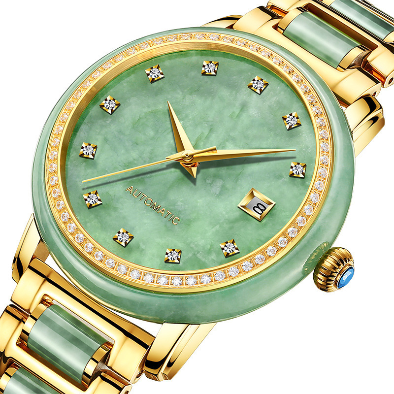 Genuine yuyuanda jade jade watch with diamond calendar Tourbillon full automatic mechanical watch lovers