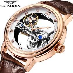 GUANQIN الهيكل العظمي ساعة الرجال التلقائي توربيون ساعة ميكانيكية مقاوم للماء مضيئة العلامة التجارية الفاخرة ساعة relogio masculino