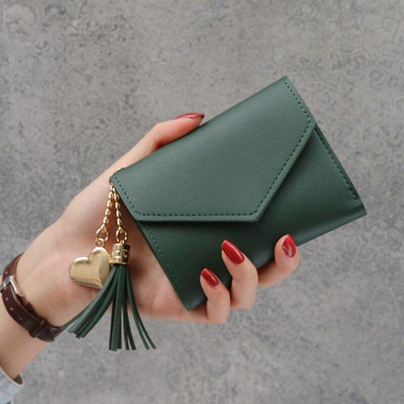 Новинка, маленький кошелек для денег, Женский Повседневный однотонный кошелек, Модный женский короткий Мини Универсальный корейский студенческий маленький кошелек - Цвет: New-Green