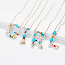 Wholesale fashion J CZ charm Silver 26 Alphabet letter pendant necklace micro pave zircon initial necklaces