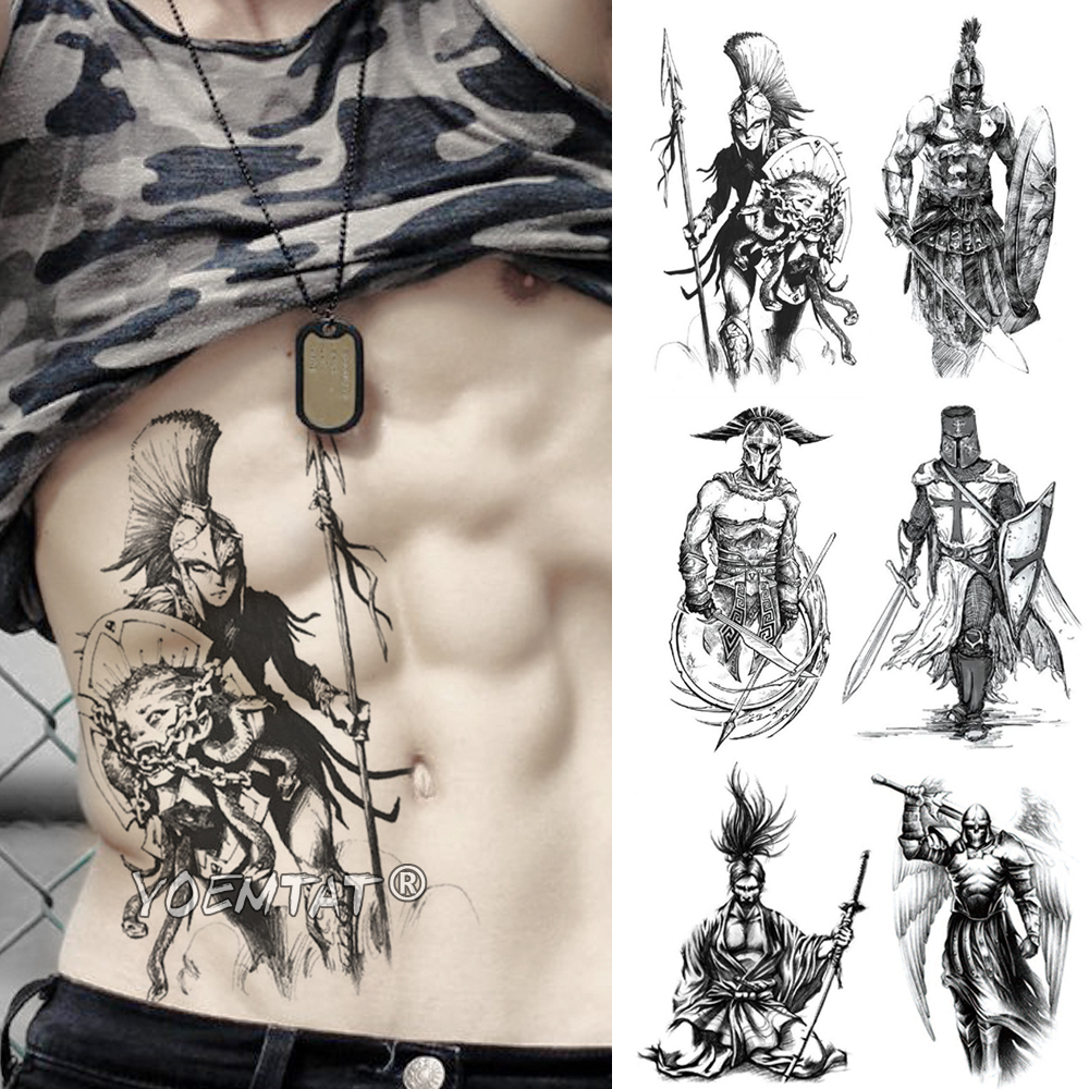 Hero Gladiator Warrior Temporary Tattoo Sticker Spartan Waterproof Tatto Crusader Knights Body Art Arm Fake Tatoo Men Women