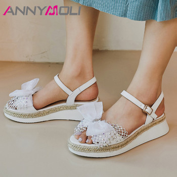 ANNYMOLI Real Leather Sandals Bow Espadrille Platform Wedges High Heels Crystal Sandals Casual Buckle Strap Ladies Shoes Summer