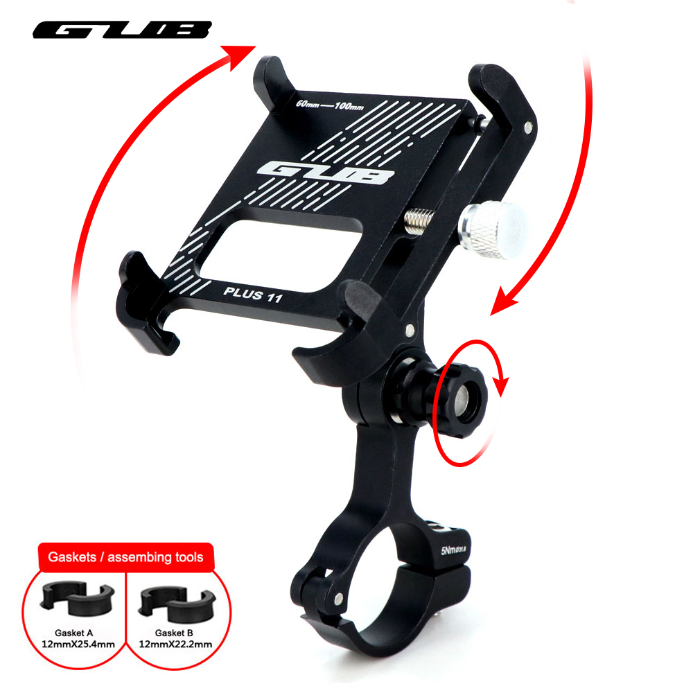 """GUB Aluminum Bike Phone Holder 3.5"""" to 7.5"""" Bicycle Phone Mount Sports Camera Light Carrier Motorcycle Handlebar Clip Stand"""