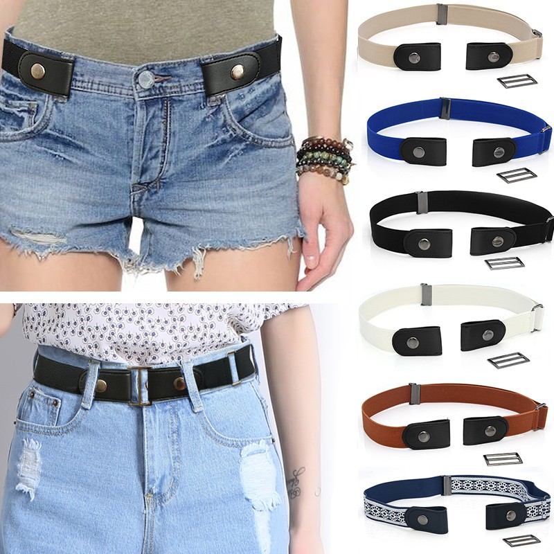 Hot Invisible Belt Print Buckle-Free Elastic Belt Buckle Free No Buckle Stretch Belt Women's Plus Belts For Clothing Accessories