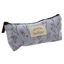Floral Fabric Pen pencil case cosmetic bag makeup students Stocking Filler Gift -blue(China)