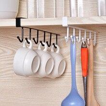 Suporte de pendurar copos com 6 ganchos, para porta de armário, toalha, prateleira, para pendurar na parede, ferramenta para organização do banheiro, cozinha