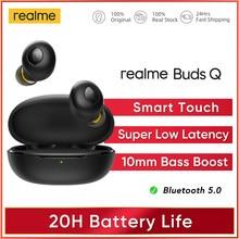 Realme-auriculares inalámbricos con Bluetooth 5,0, audífonos intrauditivos con Control táctil, 20 horas de batería, IP5 resistentes al agua, modelo Buds Q TWS