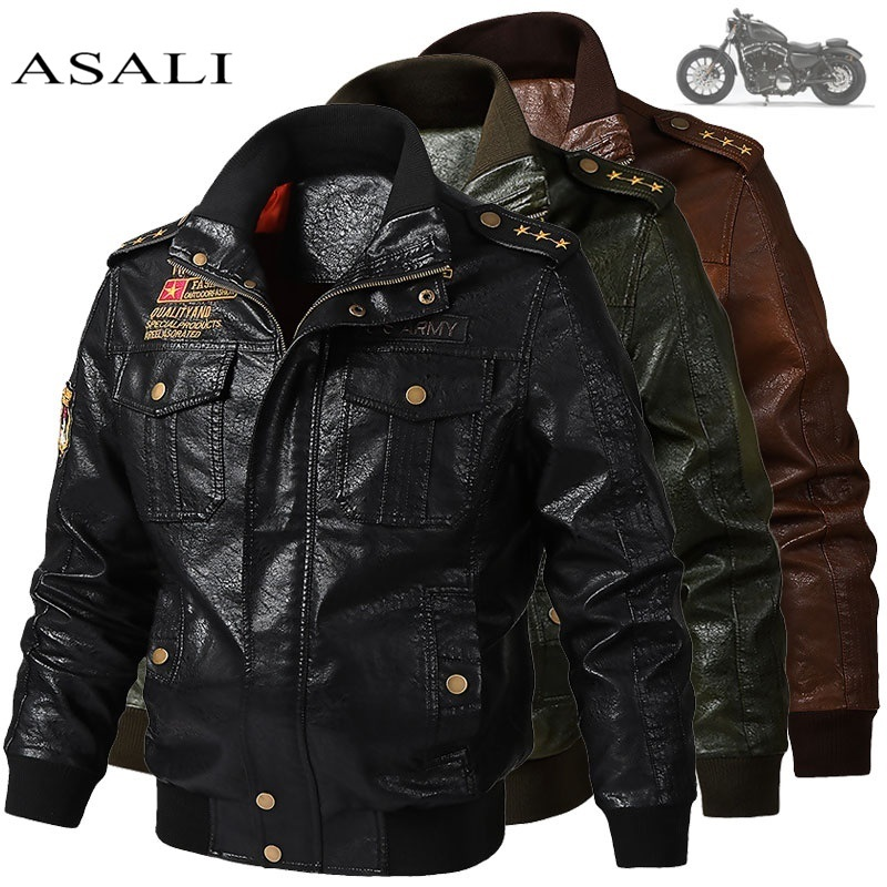 2019 Men's Classical Motocycle Jacket Winter Skin Thick Man Leather Jacket Moto Autumn Zipper Jacket Biker Coat Large Size 6XL