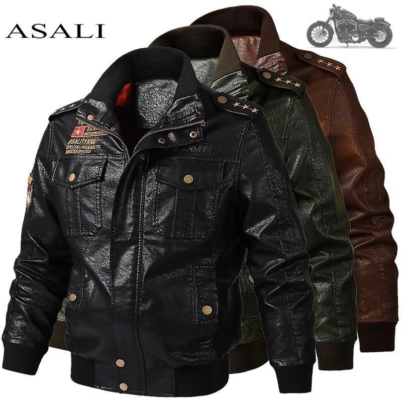 2019 Men's Classical Motocycle Jacket Winter Skin Thick Man Leather Jacket Moto Autumn Zipper Jacket Biker Coat Large Size 6XL