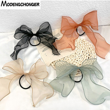 1PC Lace Hair Rope Summer Fashion Elastic Bands Super Fairy Barrette Bow Organza Girls Streamer Headband Accessories