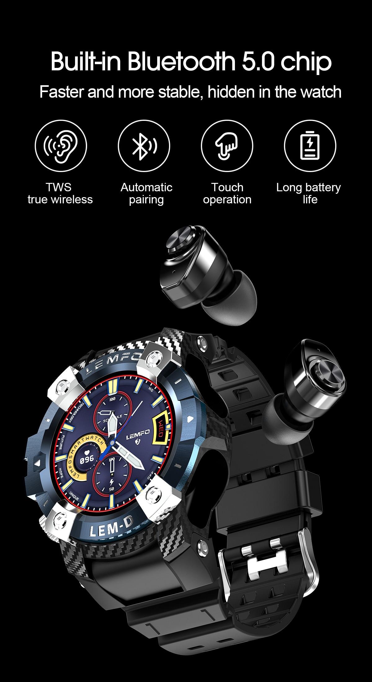 H7bc6850b3c594c19bf1d41fd82cf3190h LEMFO LEMD Smart Watch Wireless Bluetooth 5.0 Earphone 2 In 1
