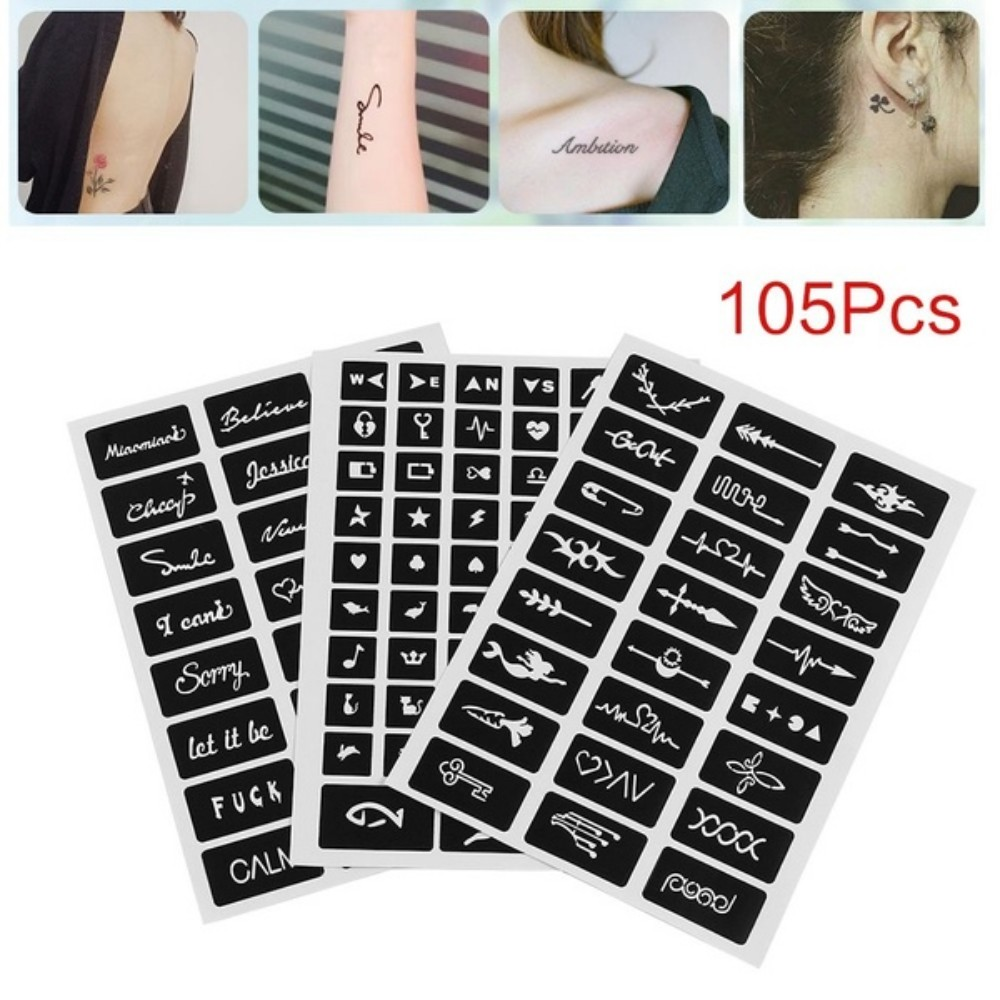 105pcs Pattern Temporary Tattoo Stencil Henna Hollow Drawing Tattoo Fashion Design For Hand Arm Leg Body Art Template