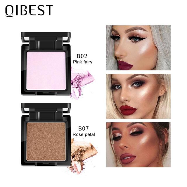 QIBEST Highlighter Bronzer Palette Face Makeup Contour Glow Long Lasting Shimmer Illuminator Highlighter Powder Shining Cosmetic 2