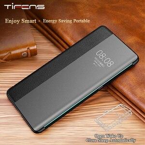Image 1 - Fenêtre de vue intelligente de luxe P40pro étui à rabat pour Huawei P40 P30 P20 Mate 30 20X 5G 10 Pro Lite P10 Plus couverture de téléphone en cuir véritable