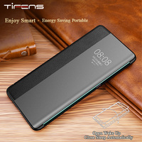 Luxury Smart View Window P40pro Flip Case For Huawei P40 P30 P20 Mate 30 20X 5G 10 Pro Lite P10 Plus Genuine Leather Phone Cover