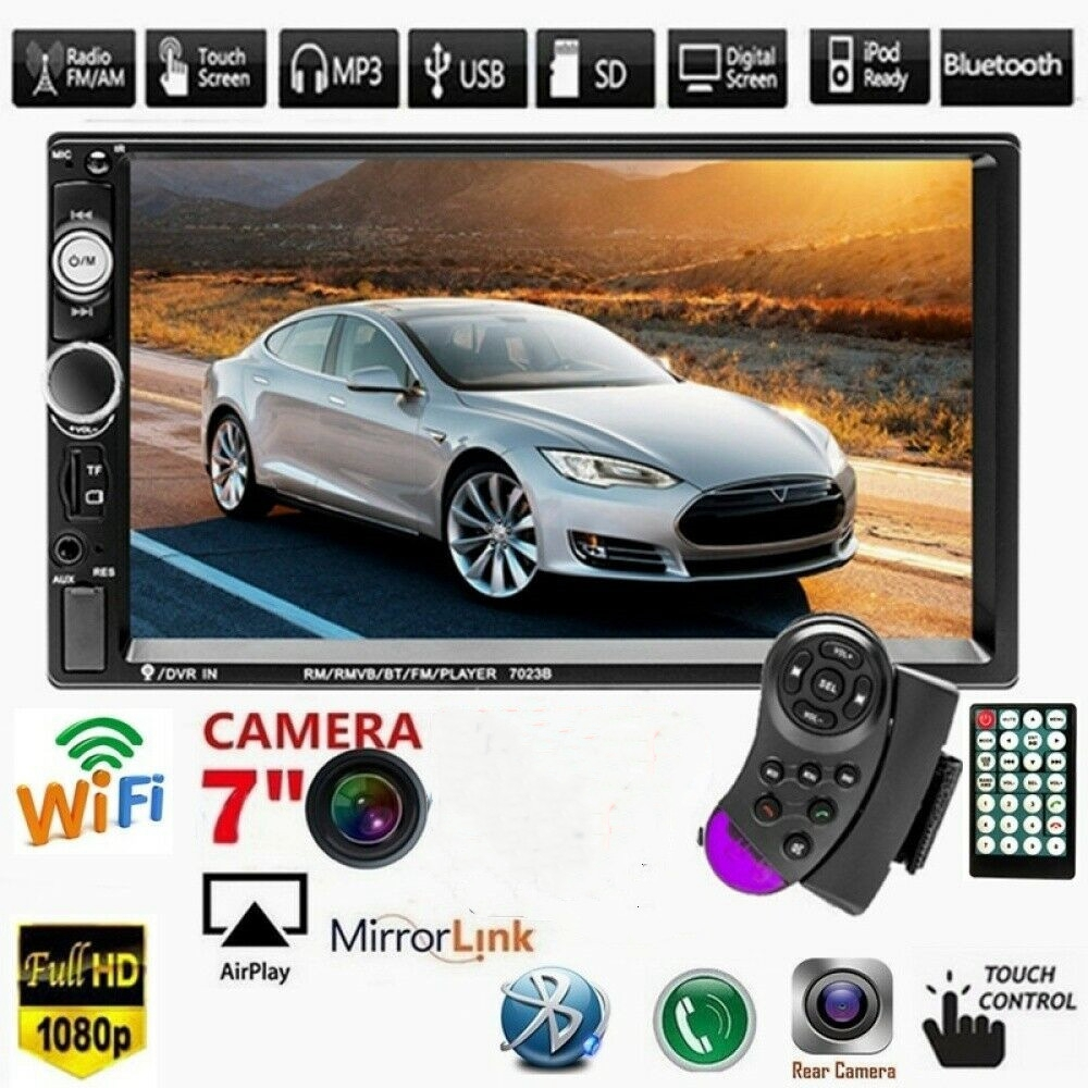 """7"""" Inch 2DIN HD Radio Car MP5 MP3 Player Video Bluetooth FM Radio AUX USB Music  Touch Screen Dash Stereo Hot Drop shipping