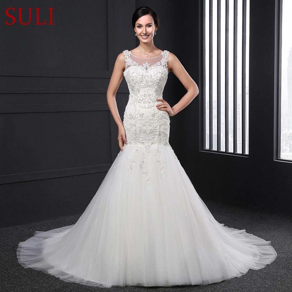SLJ-005 Mermaid Trumpet Lace Applique Crystal Pearls Wedding Dress Real Photo Bridal Gowns(China)