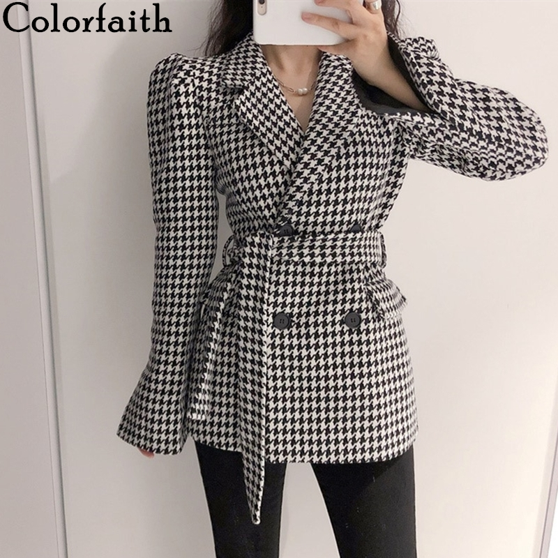 Colorfaith New 2020 Spring Winter Women Jacket Woolen Pocket Double Breasted Puff Sleeve Houndstooth Blazers Lace Up Tops JK8053